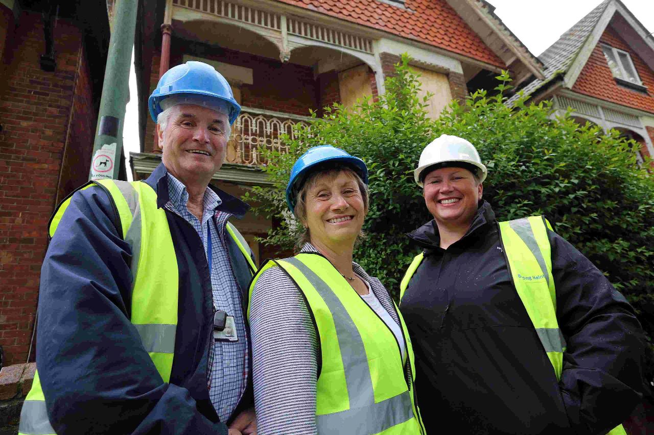 REJUVENATION:  Robert Lawton, Jane Kelly and Kelly Ansell, take a look at HMO properties in the process of redeveloping on Walpole Road