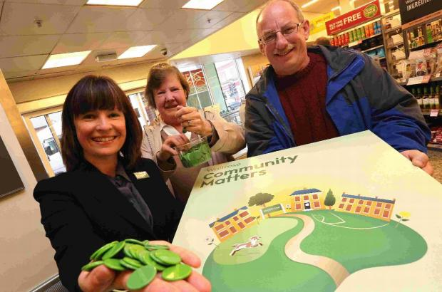 HELPING HAND: Waitrose manager Alison Pilling, together with Cllr Marion Le Poidevin and Richard Wilson