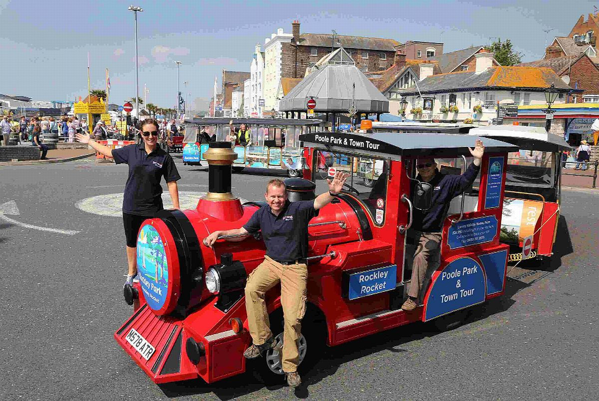 TOURS: Kris and Jess Hall and driver Mark Richards with the Rockley Rocket