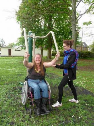 DISAPPOINTED: Verwood resident Joanna Birley tries out the new wheelchair-friendly exercise equipment