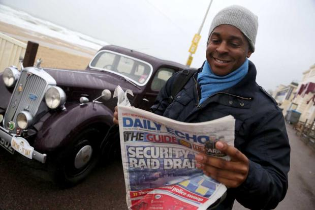 "Bournemouth Echo: Good Morning Britain presenter Andi Peters brightens Dorian's day with ""wheel of cash"""