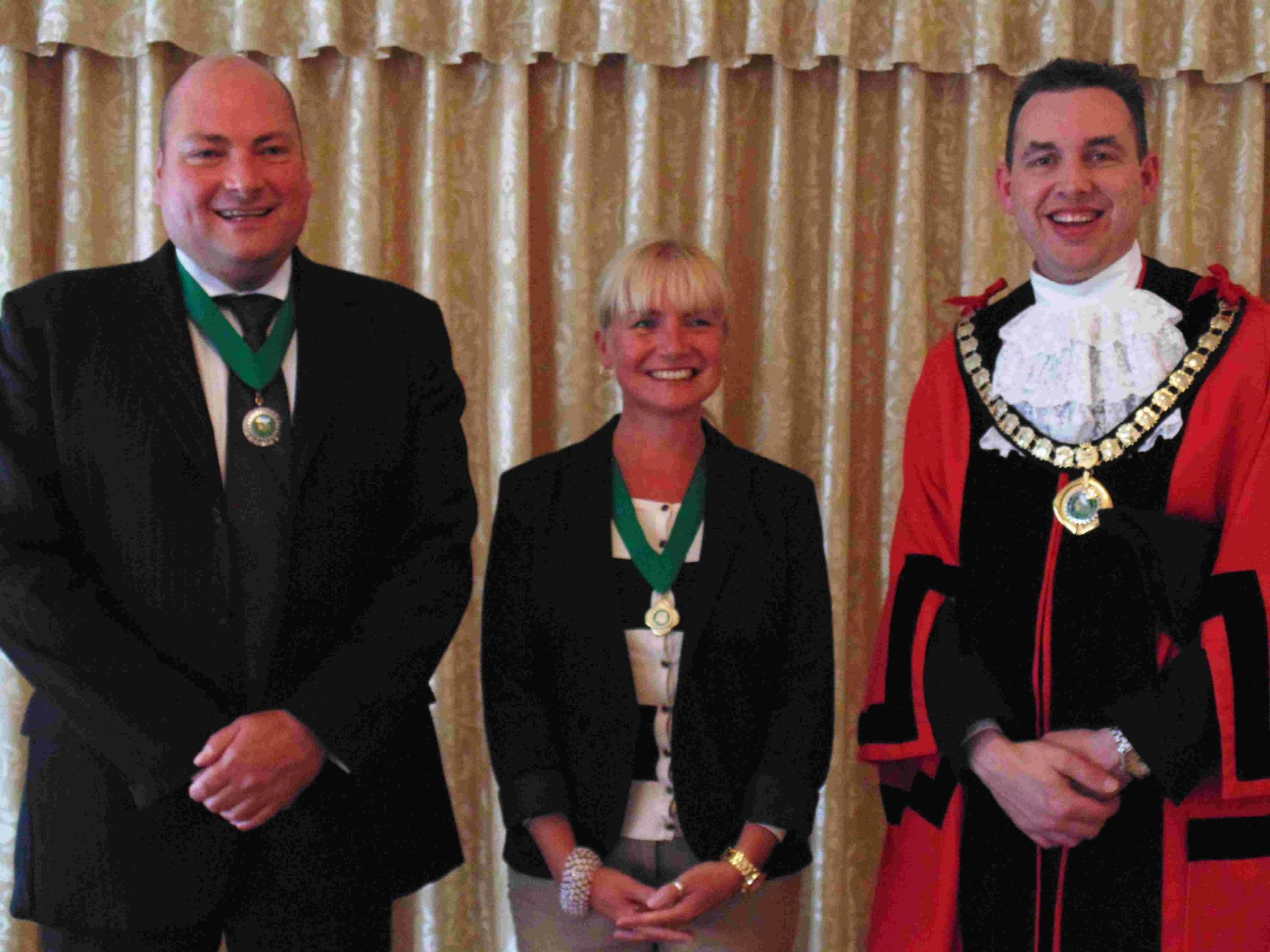YOUNGEST: Ferndown mayor, Councillor Mike Parkes, with, left, deputy mayor Cllr Tony Brown and deputy mayoress Billie Brown