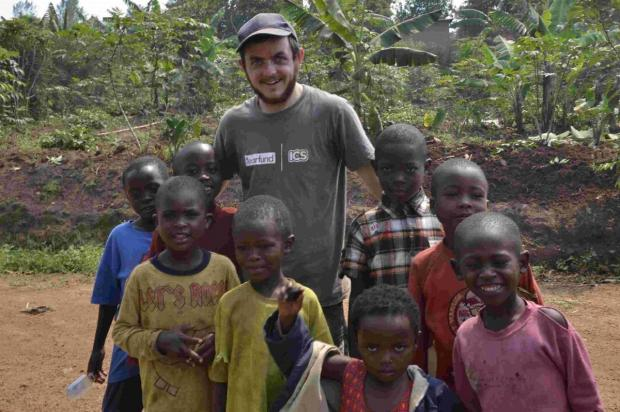PROUD: Jon Andrews and some of the African children he helped