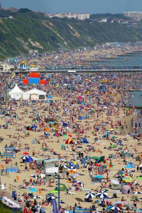 Huge numbers enjoying the sun on Bournemouth Beach