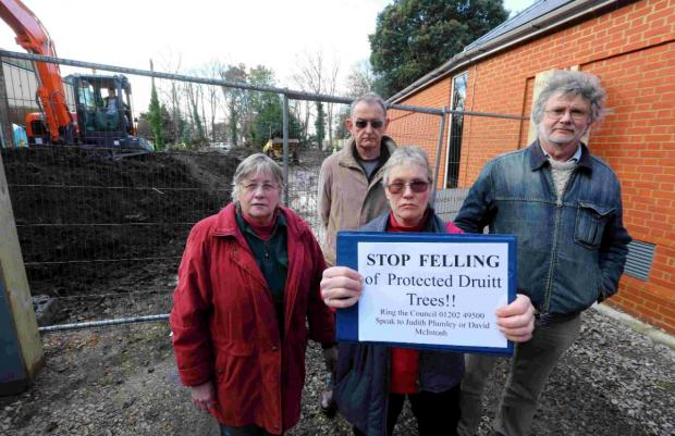 OUTRAGE: Campaigners were furious when trees were felled in Druitt Gardens earlier this year
