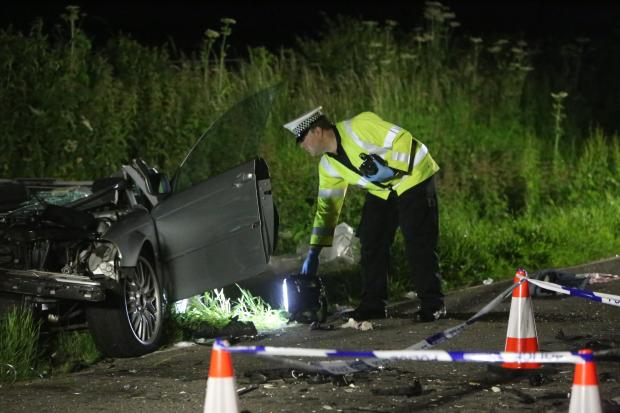 Bournemouth Echo: The scene of the crash tonight. Picture and video by Jon Beal