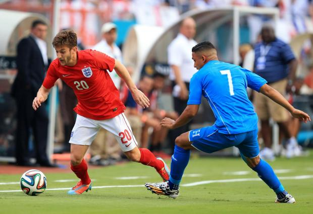 ON THE FRONT FOOT: England's Adam Lallana against Honduras on Saturd