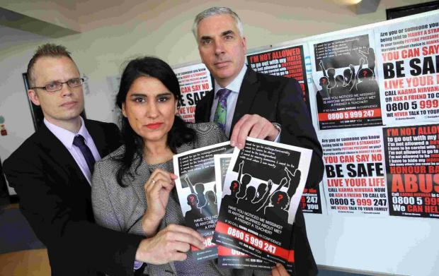 ISSUE: Jasvinder Sanghera, DS Neil Wright, left, and DCI Jez Noyce from Dorset Police