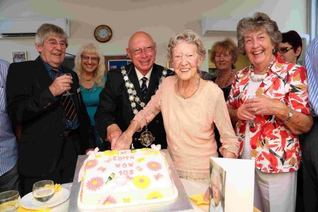 PARTY TIME: Edith Niblett and mayor Chris Mayne, family and friends