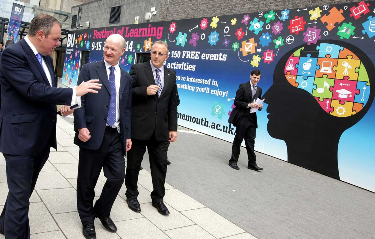 SPOTLIGHT: David Willetts, minister for universities and science, centre, walks with Professor John Vinney, vice-chancellor of BU, right, and Conor Burns MP as he visits Bournemouth University to launch BU's festival of  learning