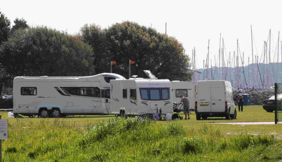 PROGRESS: Travellers on Hamworthy Park.