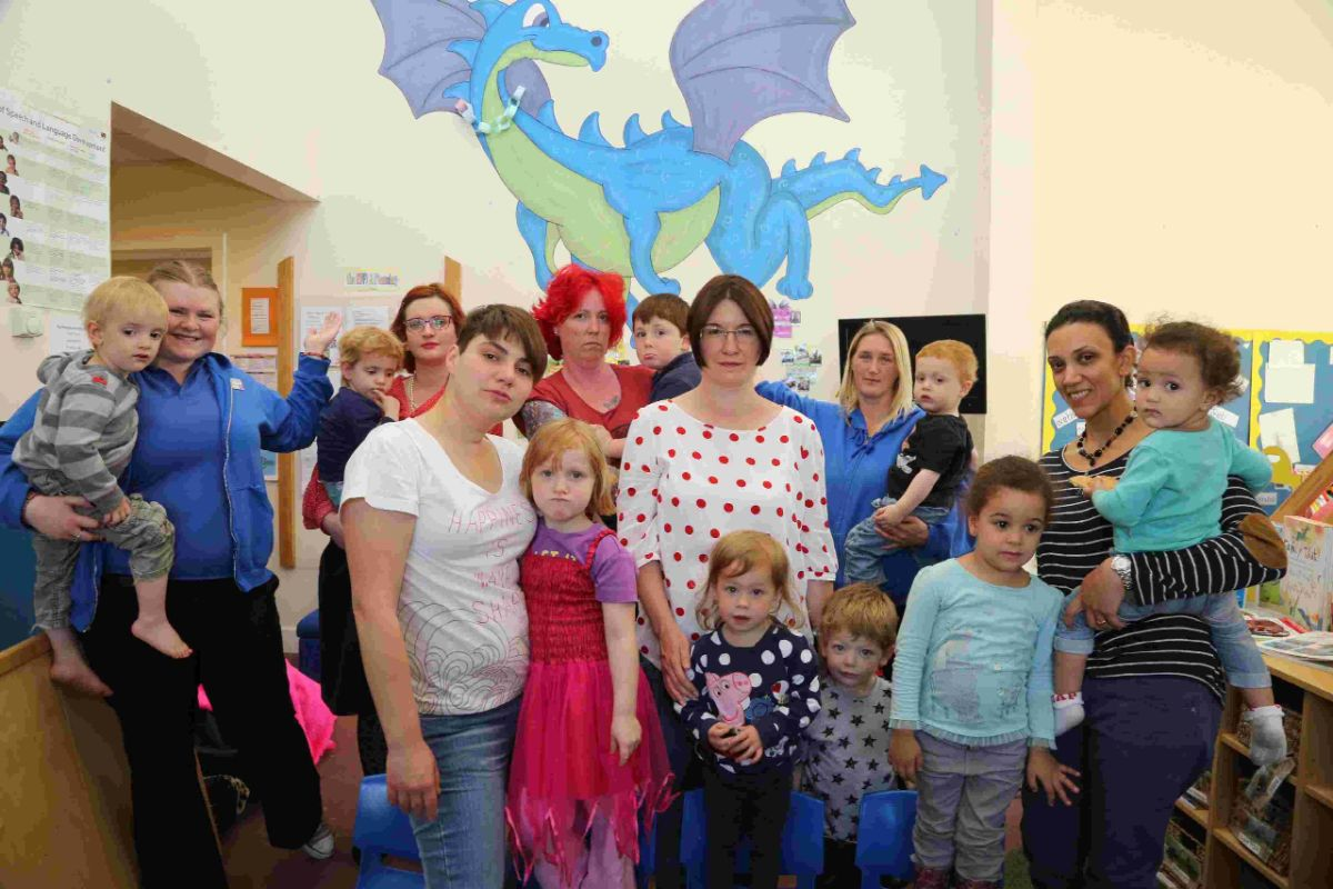 FEARS: Staff, parents and children at the Blue Dragon Club in Poole