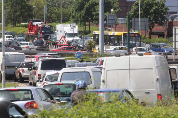 Bournemouth Echo: Misery for motorists as lane restrictions on Wessex Way cause tailbacks