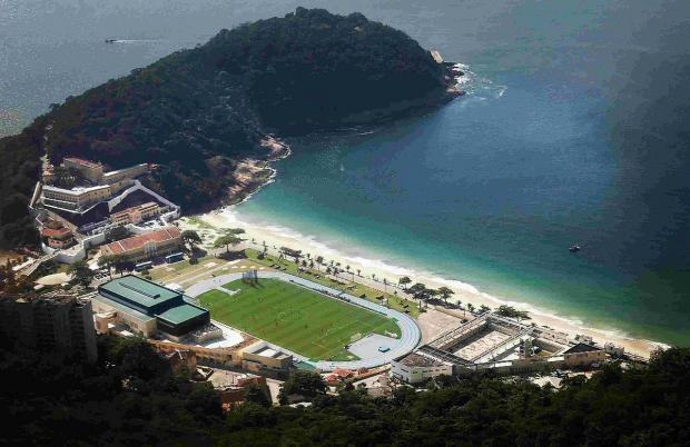 IN TRAINING: An aerial view of England's national soccer team training session at the Urca military base near Copacabana beach