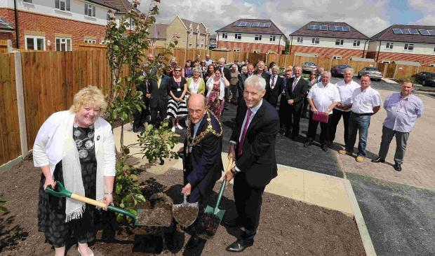 SPADE WORK: Mayor of Poole Cllr  Peter Adams  with Christine Turner and Richard Hill