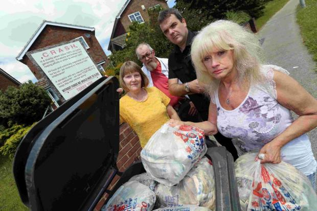 PLEA: Angela Squires with councillors Sandra Moore and Chris Matthews, as well as her carer Adrian Greenwood