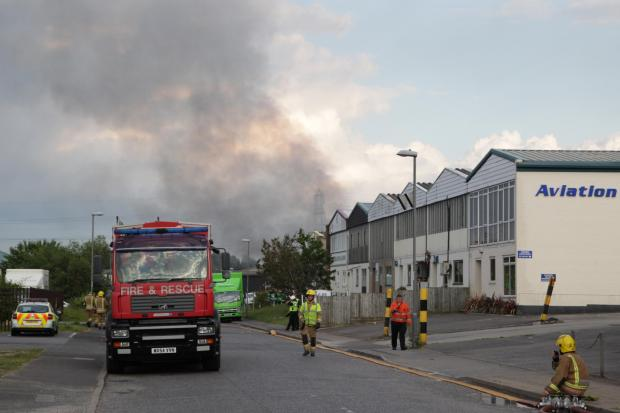 Bournemouth Echo: Emergency service called to major blaze on industrial estate. Pic: Sally Adams