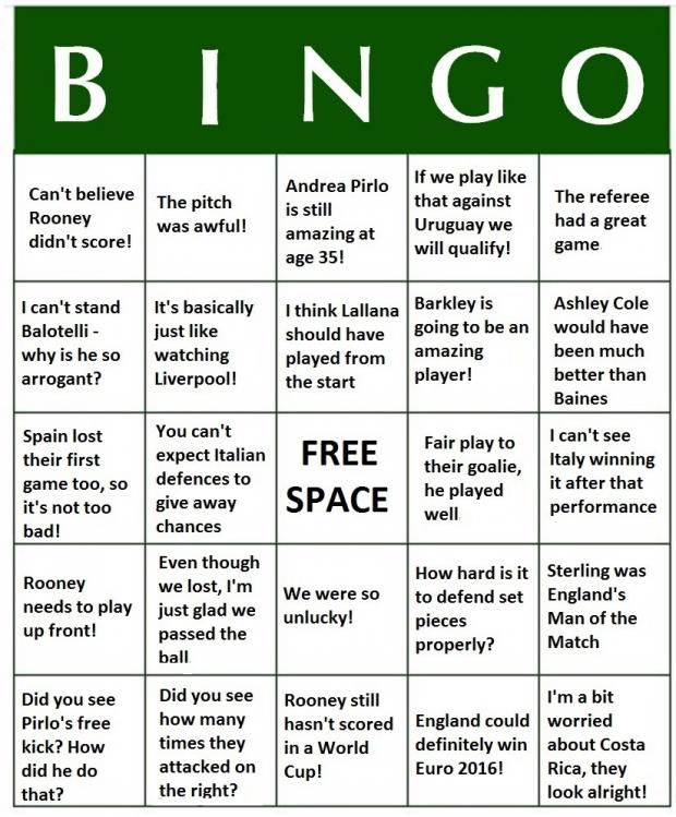 Bournemouth Echo: World Cup 2014 Bingo - England v Italy