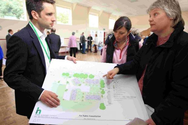 PROTESTS: Residents view the plans for Chichester Walk, inset