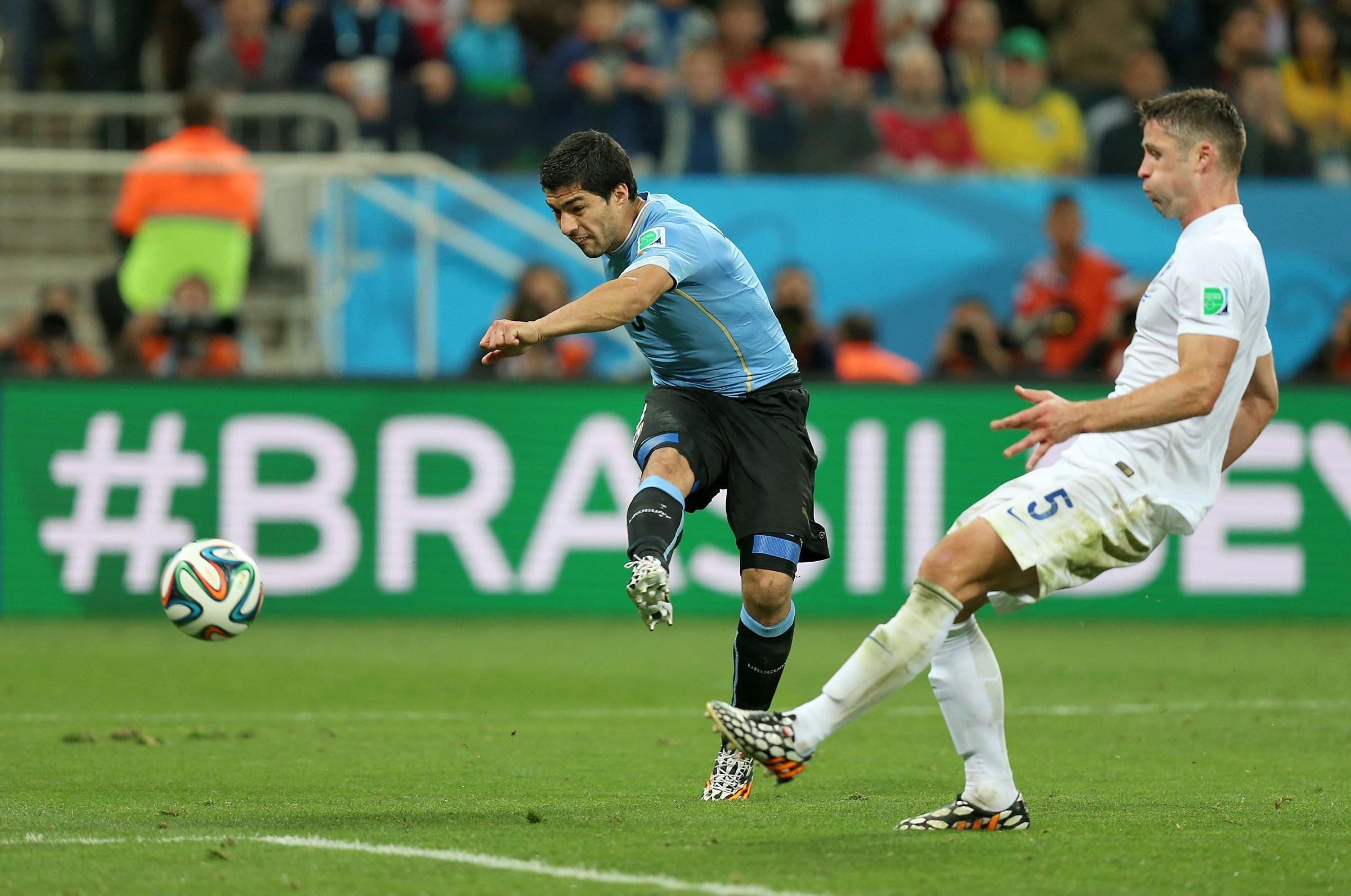 LATE PAIN: Luis Suarez breaks England hearts