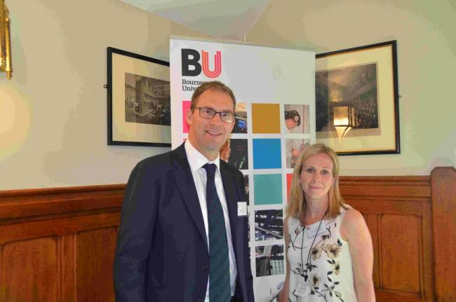 Dr Sarah Bate with Tobias Ellwood, MP