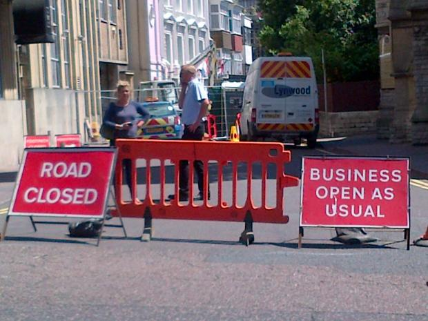 Bournemouth Echo: Albert Road, which is also closed because of a collapsed sewer