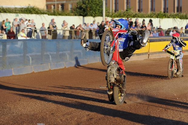 SHOWMAN: Star rider Vaclav Milik entertains the Poole faithful