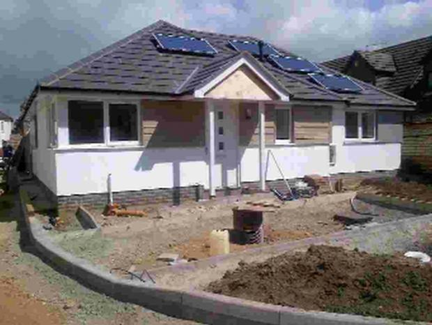 A bungalow being built at Gladstone Mews, Boscombe