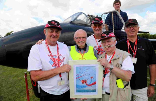 Bournemouth Echo: ANNIVERSARY: Terry Trevett of the Bournemouth Red Arrows Assocation, front right, with fellow association members. Inset, Jon Egging