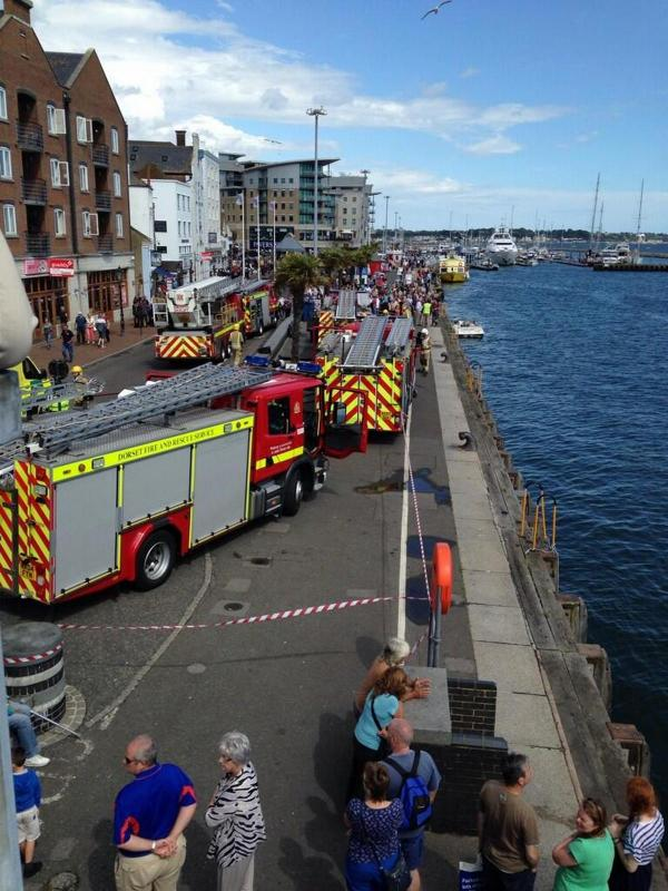 Emergency services called to Poole Quay after reports of fire on boat