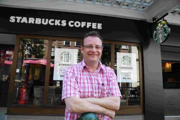 Mark Hepburn, franchisee of the new Starbucks on Richmond Hill, Bournemouth