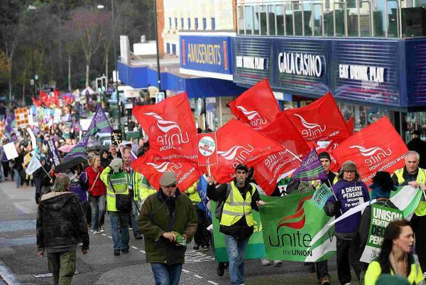 Bournemouth Echo: ACTION: The scene during a public sector strike in 2011 and, inset, Cllr John Beesley