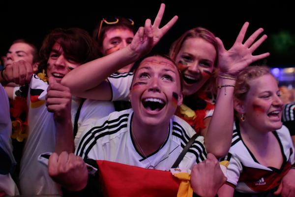 Bournemouth Echo: Elation for German fans last night. Pic: PA