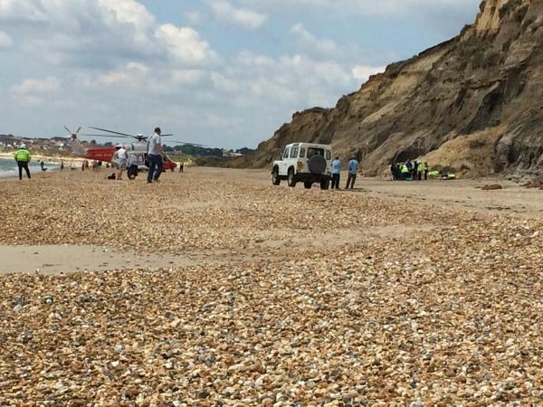 Man airlifted to hospital after falling 40ft from cliff at Hengistbury Head