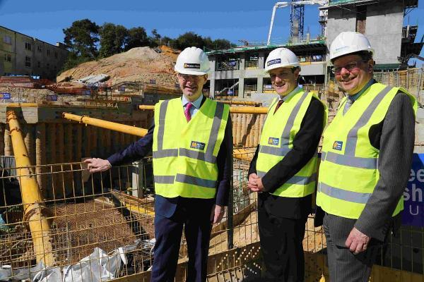 UPMARKET: Greg Clark, left, visiting Terrace Mount with Stephen Cassidy and Cllr John Beesley