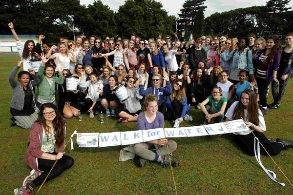 MARCH: Year 12 girls from Parkstone Grammer School walked 15 miles from Swanage to Poole to raise money for Water Aid