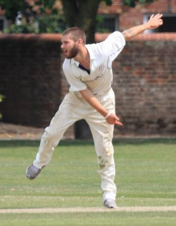 SIX APPEAL: Bashley's Sam Thomson on his way to taking six wickets at Havant. Picture: Terry Nash