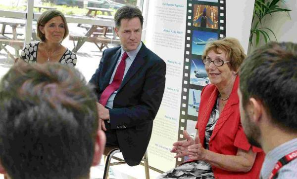 On a visit to Cobham PLC's head offices Nick Clegg voiced support for apprenticeships