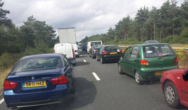 Bournemouth Echo: Traffic at standstill on Wessex Way after collision. Picture sent in by reader