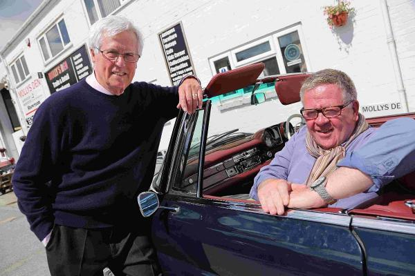 DEN: Antiques Road Trip presenters John Craven and Phillip Serrell visit Molly's Den in Bournemouth as they film for the BBC2 show