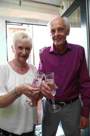 Barry Hill and wife Rosemary celebrate their latest Find the Ball win