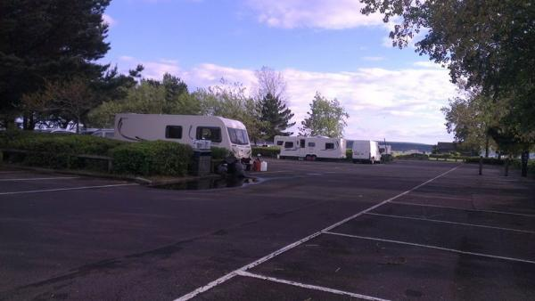 Travellers on Baiter car park earlier this week