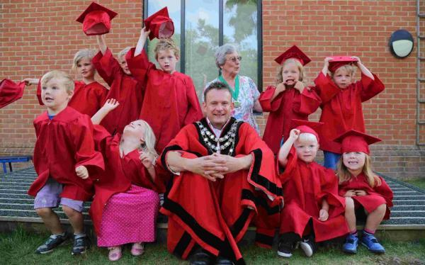 Pamphill Preschool pupils have a 'graduation' ceremony with the Mayor of Wimborne Councillor Andy Hampton and chairman of Pampill and Shapwick Parish Council Anthea Cross