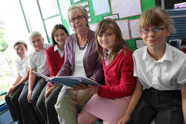 TOP TUTOR: Pokesdown Community Primary School's Janet Proehl with some of her pupils
