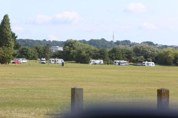 Travellers on land at Baiter Park yesterday morning