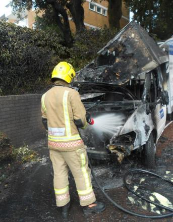 Food delivery van catches fire in Poole