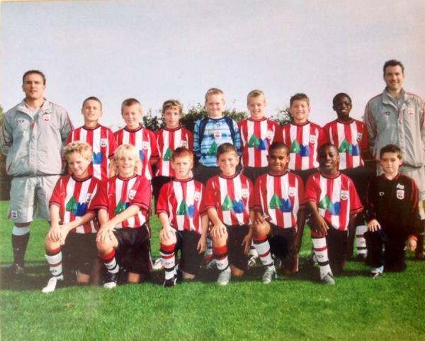 TOP TEAM: Baily Cargill (back row, third from right) pictured in Southampton's 2004-05 under-11s with Luke Shaw (front, second from left)