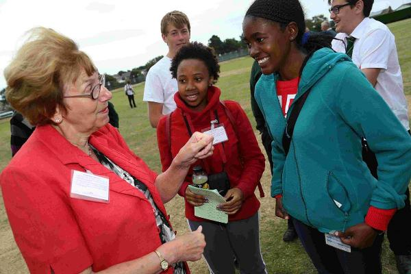 TRIP: Students from Namibia and South Africa visit Poole Grammar and take part in their Sports Day. Students talk with MP Annette Brooke