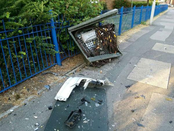 Residents left without TV and broadband access after lorry crashes into box