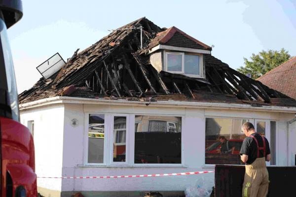 Fire crews were called to a fire at a bungalow in Westdown Road, Kinson, last night